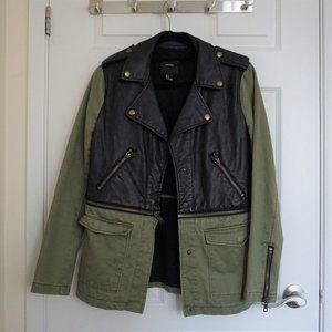FOREVER 21 Faux Leather Military Zip 2-in-1 Jacket